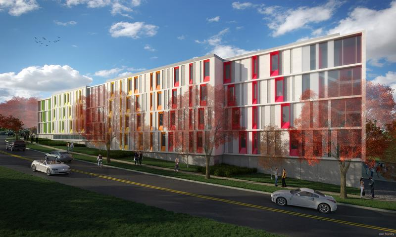 A rendering of the Kansas City Art Institute's new student residence hall along Warwick Boulevard, south of the campus gates.