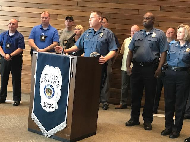 Kansas City Police Chief Rick Smith briefs reporters on the latest information about Sunday's shooting in which three officers were injured.