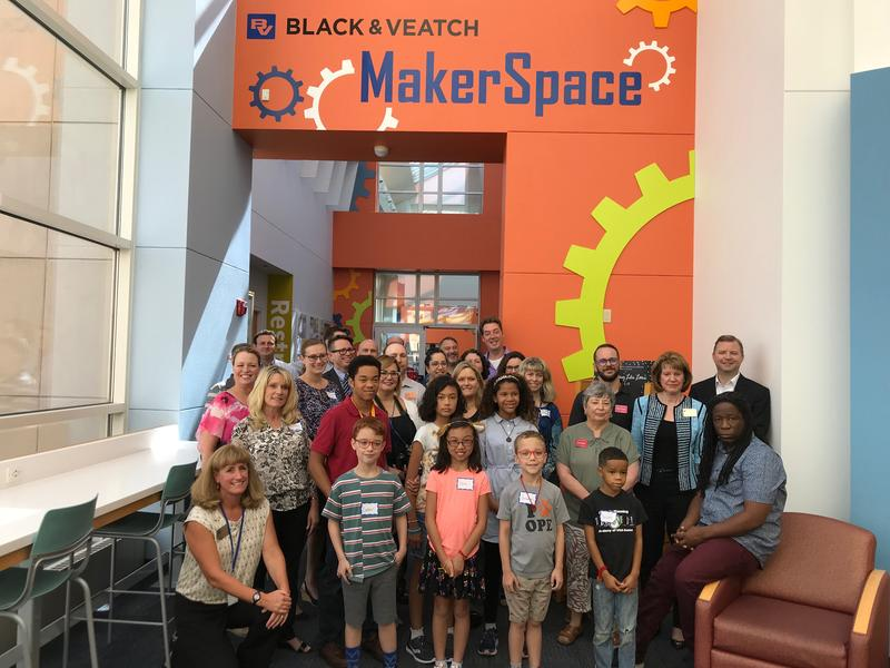 Several Black & Veatch employees, libarians, library board members, and members of the community came together at the end of July to rededicate the Black & Veatch MakerSpace after the engineering company renewed a $90,000 three-year grant.