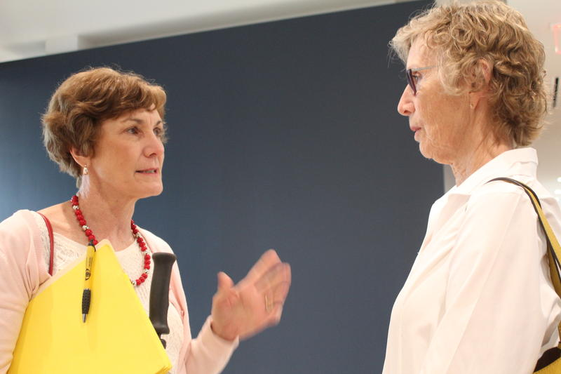 Sen. Barbara Bollier, left, a Mission Hills Republican, and Rep. Elizabeth Bishop, a Wichita Democrat, talking strategy after a meeting of the Substance Use Disorder Task Force on Thursday.