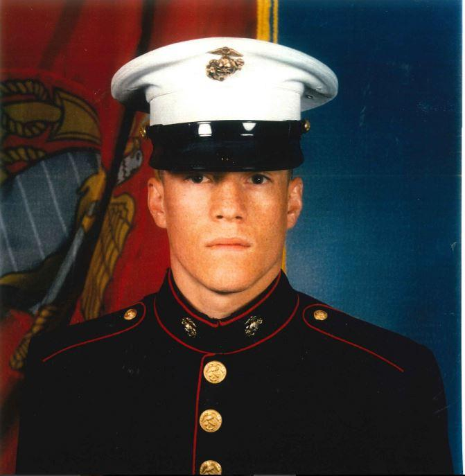 Cpl. William Draughon in his Marine Corps Blue Dress uniform.