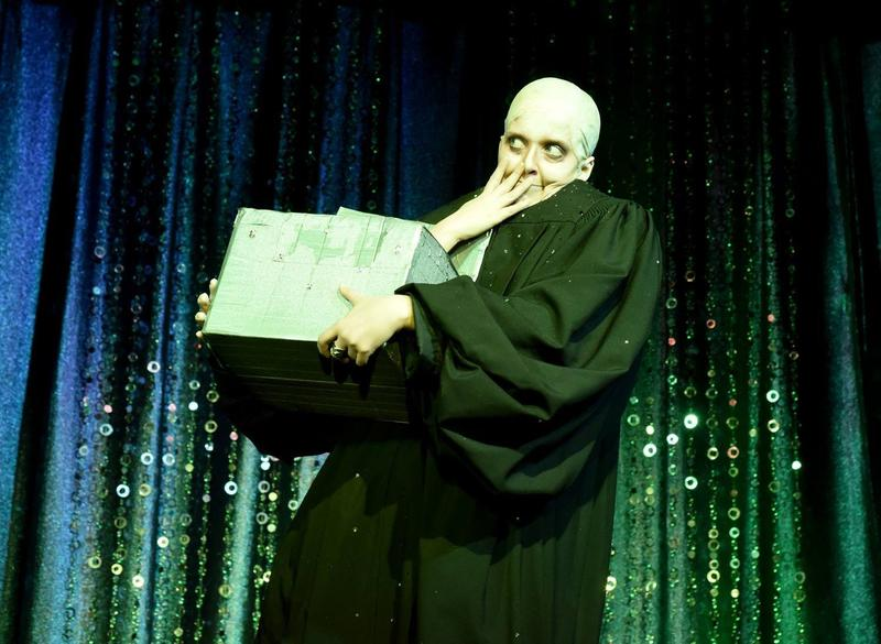 The burlesque performer known as Kater Tot is inspired by pop-culture characters such as Fester Addams.