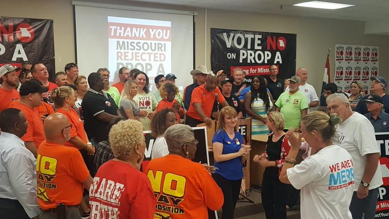 Union members gathered Tuesday at the Pipefitters Local 533 Hall in south Kansas City.