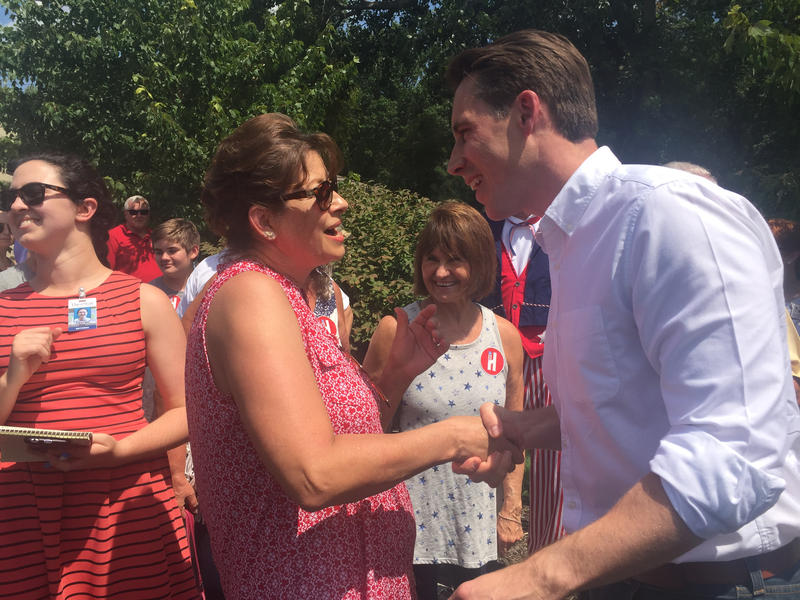 Missouri Attorney General Josh Hawley spoke to a crowd of a couple dozen people Thursday on a campaign stop in Blue Springs.