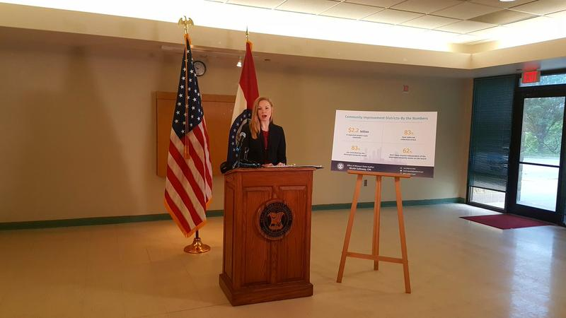 State Auditor Nicole Galloway issues report on Community Improvement Districts during a news conference in Kansas City.
