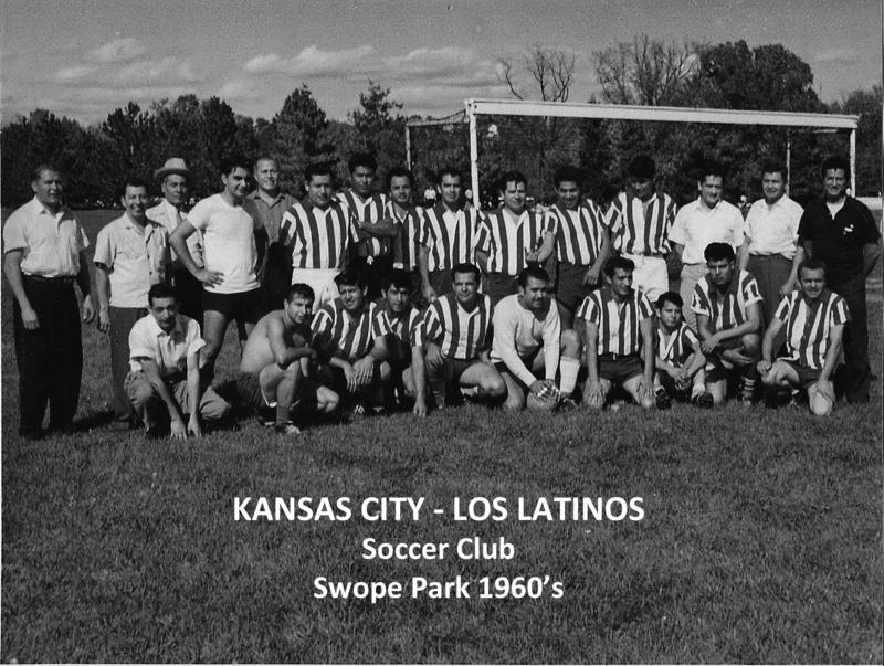 Los Latinos soccer team playing at Swope Park in the 1960s.