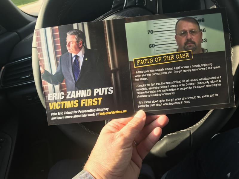 A campaign flyer urging Zahnd's reelection as Platte County Prosecuting Attorney touts his prosecution of Darren Paden, who pleaded guilty to two counts of statutory sodomy and was sentenced to 50 years in prison.
