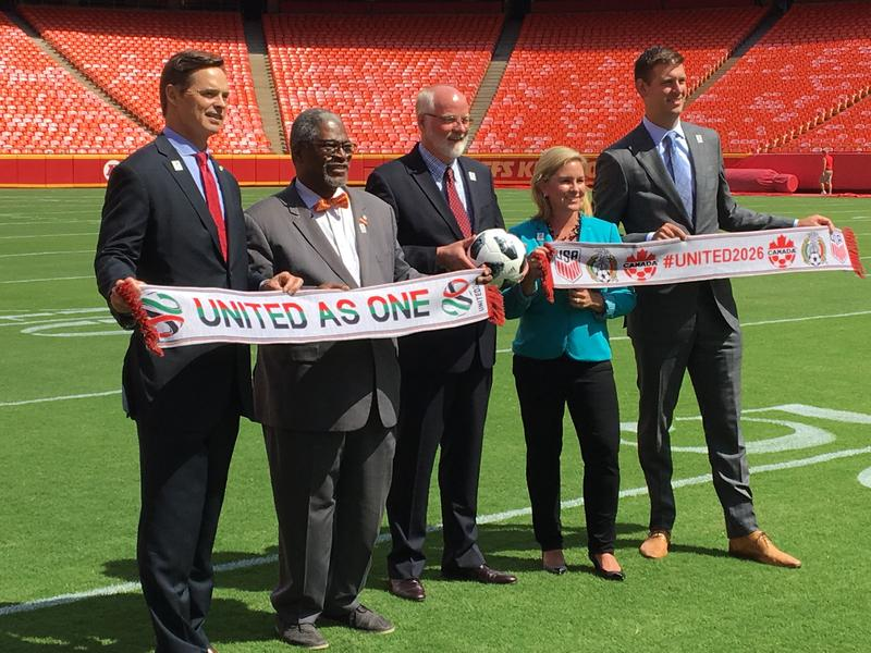 Chiefs President Mark Donovan; Kansas City, Missouri, Mayor Sly James; Kansas City, Kansas, Mayor David Alvey; Kansas City Sports Commission head Kathy Nelson;and Sporting KC president Jake Reid gathered in June.