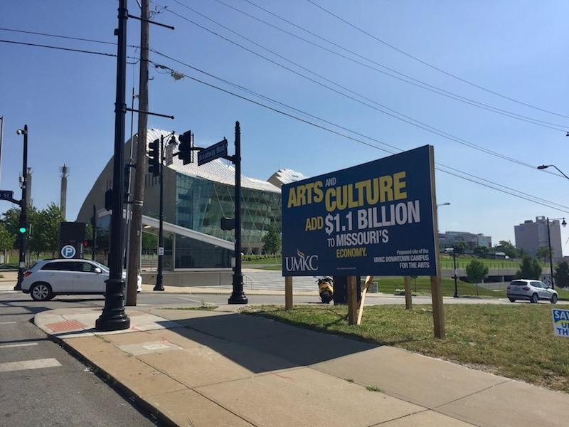 The UMKC Downtown Campus for the Arts was planned for immediately south of the Kauffman Center.