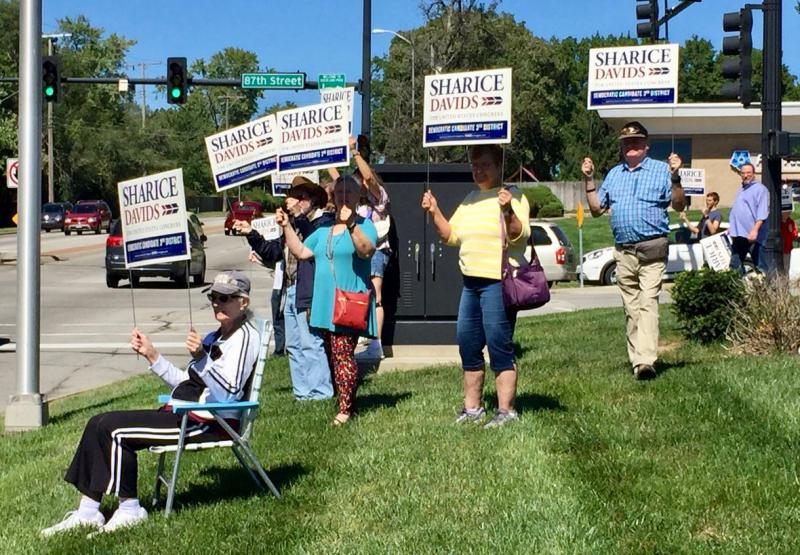 Democrat Sharice Davids opened a second campaign office on Saturday, this one in Overland Park. She is trying to unseat incumbent Republican Rep. Kevin Yoder in Kansas' 3rd Congressional District.