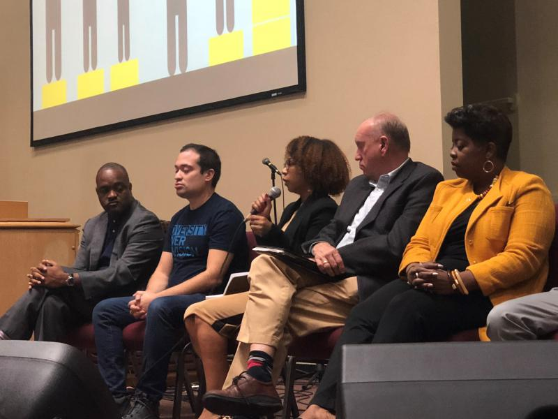 Lee's Summit Superintendent Dennis Carpenter, left, was a panelist at an educational equity forum Thursday night in South Kansas City.
