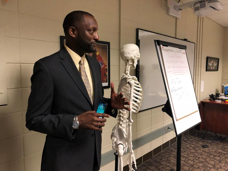 Kansas City Public School Superintendent Mark Bedell visited Manual Career and Technical Center on the first day of school in August. Usually, districts have test results to drive decision-making before the start of a new school year.