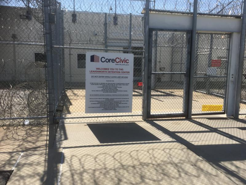 At issue at a hearing concluding today is whether prosecutors accessed recorded phone calls made at the Leavenworth Detention Center, pictured here.