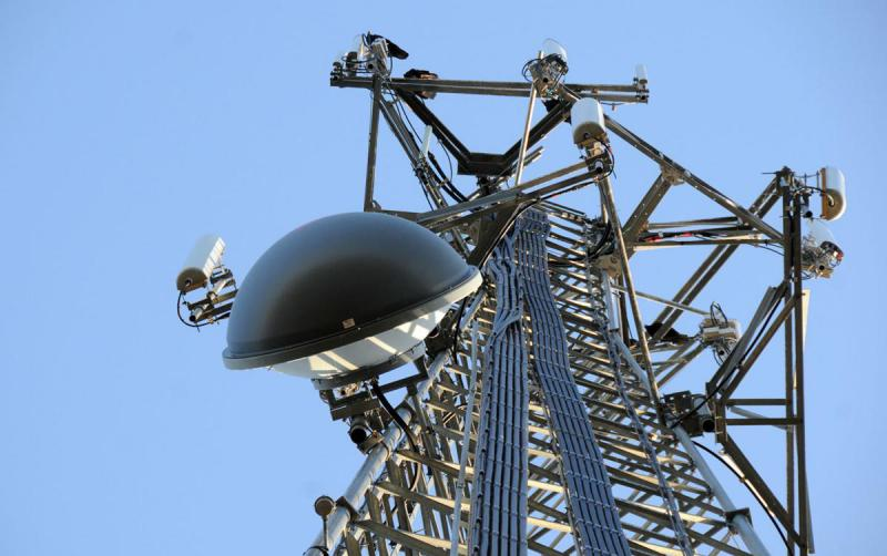A rural cell tower, the kind that might someday speed internet speeds to small towns and the countryside