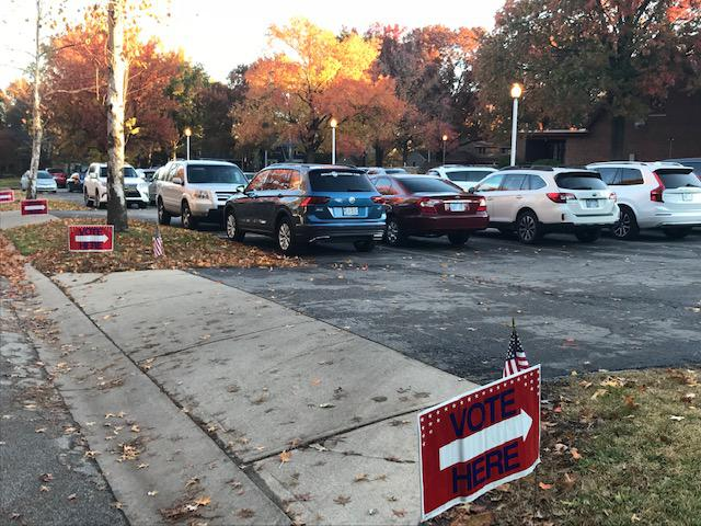 The parking lot at this Kansas polling place was full when the polls opened at 7 a.m.