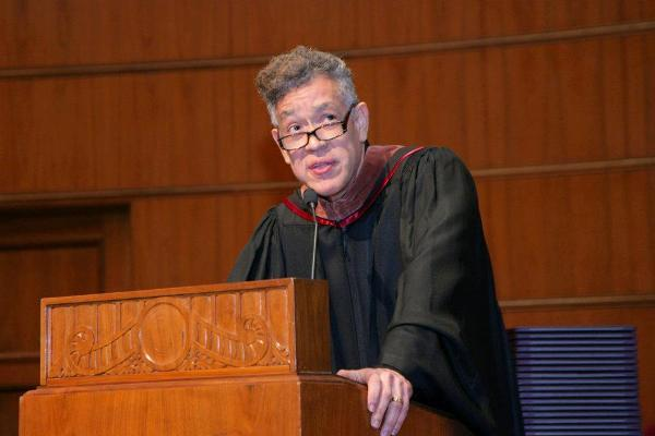Photographer and artist Andres Serrano at the Kansas City Art Institute's 2012 commencement ceremony