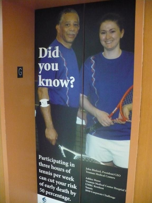 A picture of John Bluford is on a hospital elevator, located near the cafeteria. The CEO is trying to create a culture of wellness in the hospital.