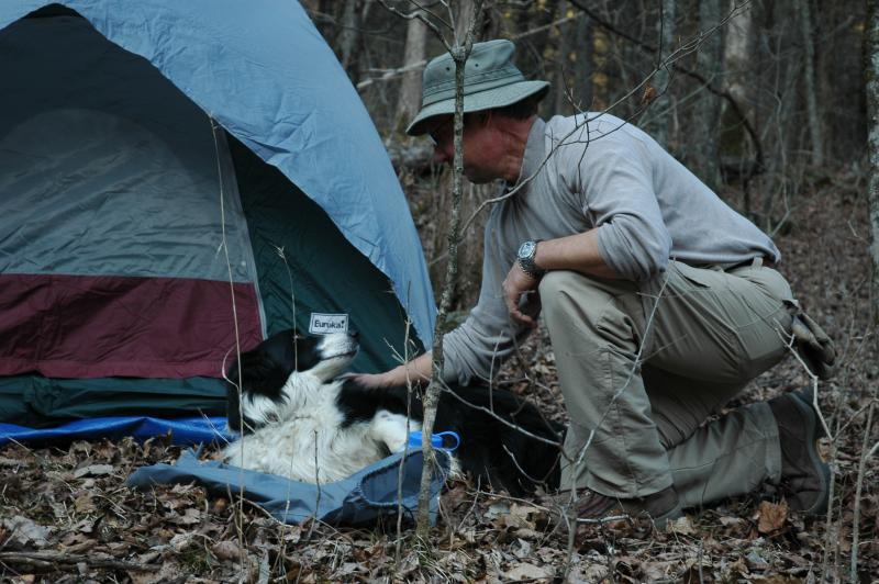 Dale Smith and his dog Keegan, on their first backpacking trip post cancer treatment, in Piney Creek Wilderness, Mark Twain National Forest