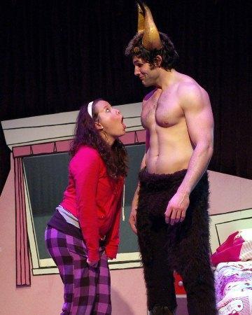 Dina Thomas as Amy and Jeff Smith as the Minotaur.