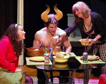 L to R: Dina Thomas as Amy, Jeff Smith as the Minotaur and Katie Gilchrist as Katharine.
