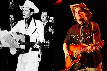 From left, Hank Williams, and his grandson, Hank Williams III.