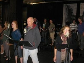 "Richard, Barnett and ""Sweeney Todd"" cast at rehearsal"