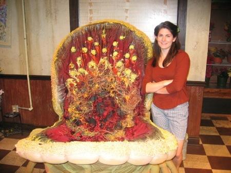 Puppet designer Grace Hudson with her creation.