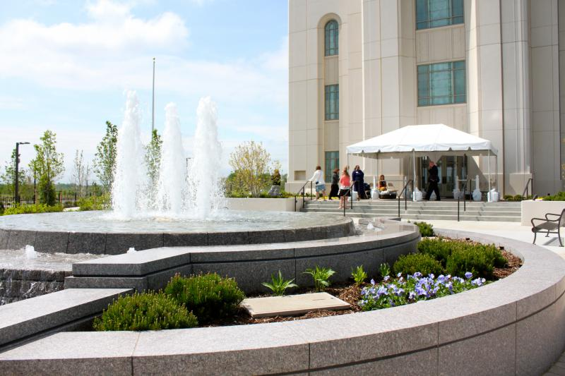 The fountain in front of the new Mormon temple in Liberty, Missouri