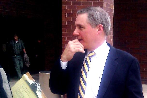 K.C.-St. Joseph Diocese defense counsel Jean Paul Bradshaw II after arguments to dismiss charges in child sex abuse case.