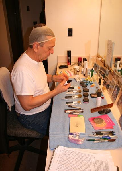 Jim Korinke at his make-up table.