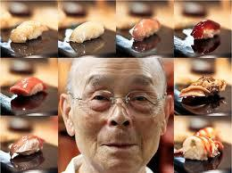 Chef Jiro Ono surrounded by his art.