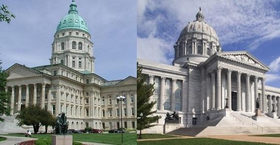 The Missouri and Kansas Capitol buildings (from left to right).