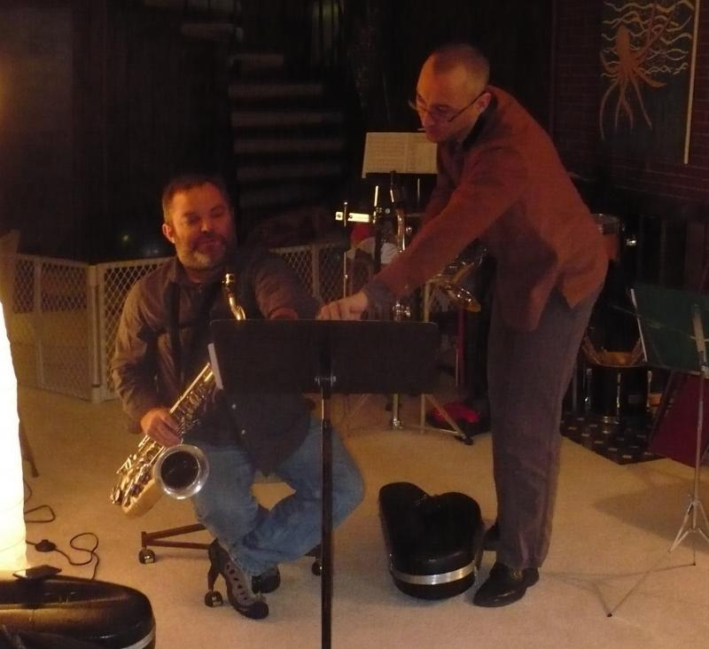 Rich Wheeler (seated) and Matt Otto (standing) in rehearsal