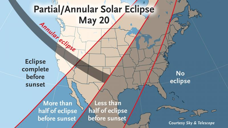 This map shows the predicted visibility in North America for this Sunday's eclipse.