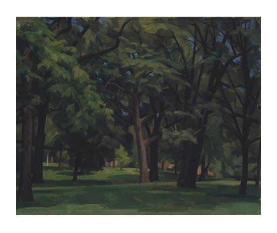 Wilbur Niewald, Trees at Linda Hall Library, 1996 oil paint on canvas 29 x 36 inches.