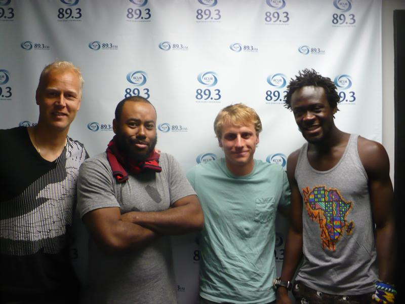 Three Sporting Kansas City players - left to right - Jimmy Nielsen, Jabulani Leffall, Seth Sinovic and Kei Kamara.
