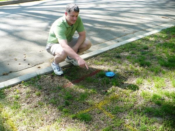 Volunteer Jim Roddy shows the markings where a new tree will be