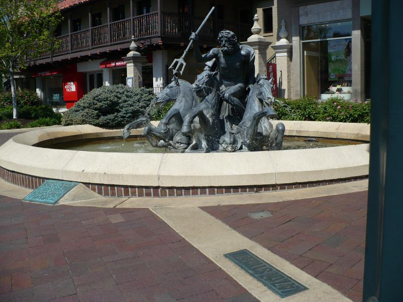 The Neptune Fountain at W. 47th Street & Wornall Road on The Plaza. Neptune was the Roman god of water and sea.