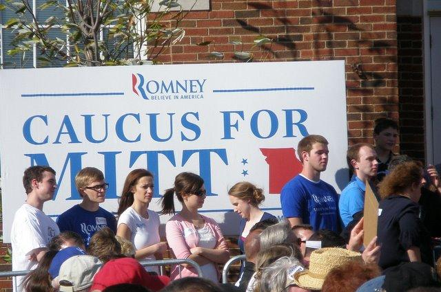 Supporters of Presidential primary candidate Mitt Romney at Liberty, MO. where focus was on Missouri G.O.P. caucuses.
