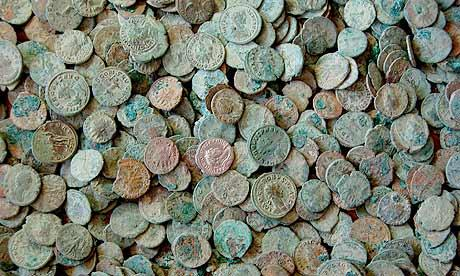 Just a small selection of the Roman coins found by Dave Crisp in a field near Frome, Somerset.