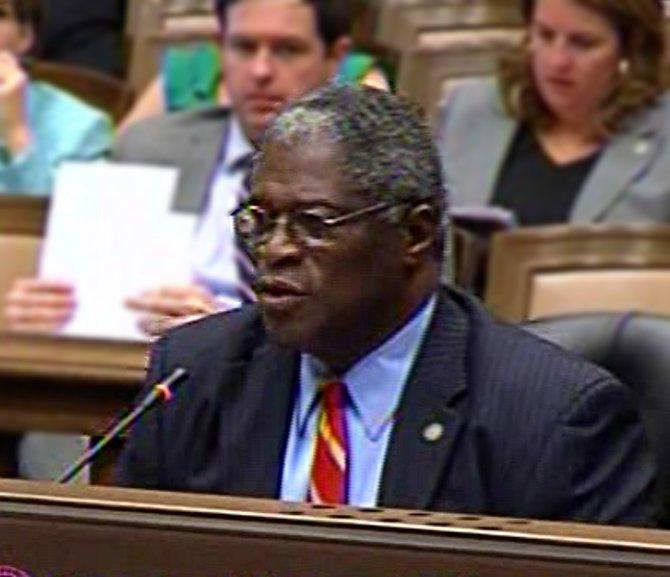 Mayor Sly James presents his tax revision plan to a joint city council committee