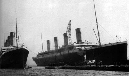 The sister ships Olympic and Titanic