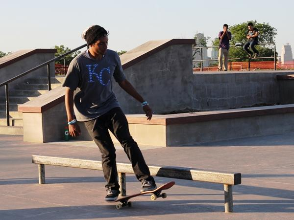 Skaters test out new obstacles at Penn Valley Park.