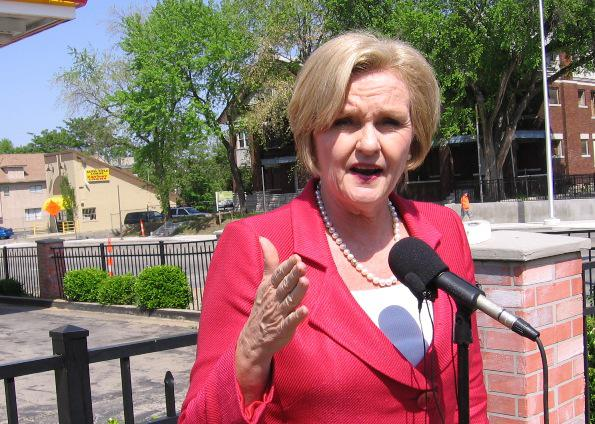 Senator Claire McCaskill, D-MO, speaks to gasoline prices outside a K.C.  Shell station.