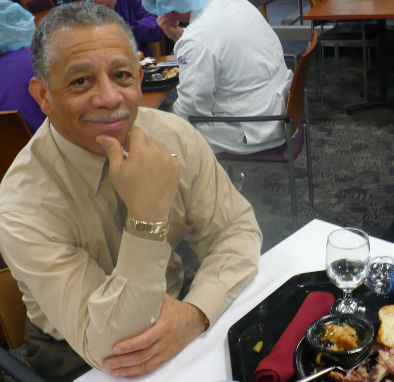 Truman CEO, John Bluford, eats lunch in the hospital's main cafeteria.
