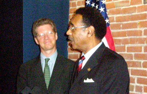HUD Secretary Shaun Donovan, left, and Representative Emanuel Cleaver after  housing meeting with KC  area mayors.
