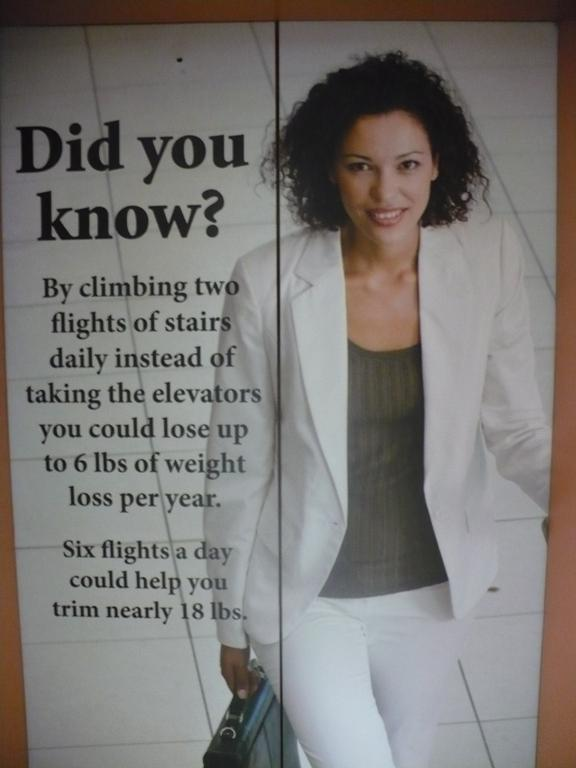 The hospital has posted wellness tips around the hospital, including on this elevator.