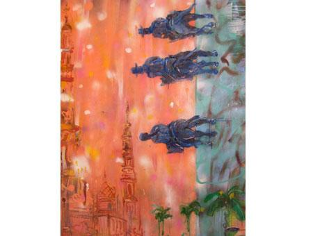 Colonial Sunset, 2011; acrylic on canvas, 48 x 36 in.