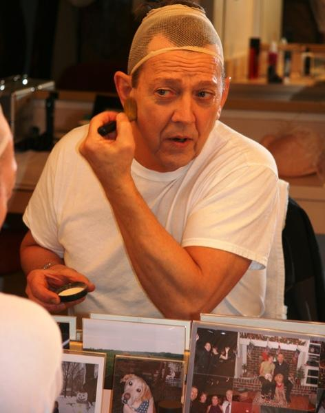 Jim Korinke at the make-up table.