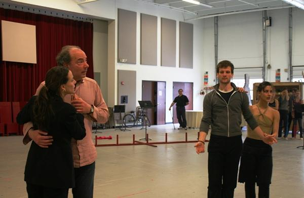 Scenes from a rehearsal: The Nixons (Maria Kanyova and James Maddalena) and dancers in the revolutionary ballet (Logan Pachciarz and Nadia Iozzo) look to director Michael Cavanagh.